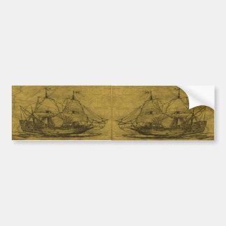 スクーナー船およびヴィンテージの地図 バンパーステッカー