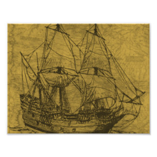 スクーナー船およびヴィンテージの地図 フォトプリント