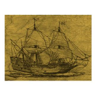 スクーナー船およびヴィンテージの地図 ポストカード