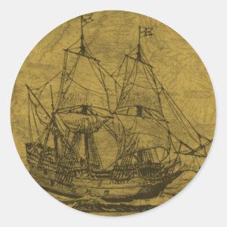 スクーナー船およびヴィンテージの地図 ラウンドシール