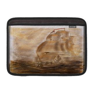 スクーナー船およびヴィンテージの地図 MacBook スリーブ