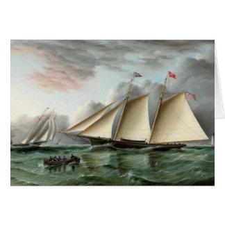 スクーナー船が付いている父の日カード カード