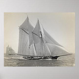 スクーナー船のヨットフォルトゥナ ポスター