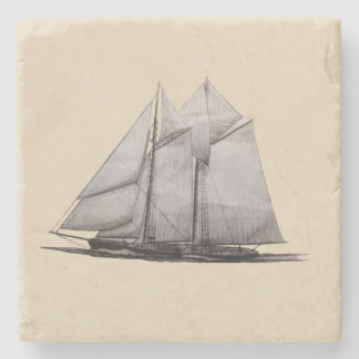 スクーナー船の大理石のタイル ストーンコースター