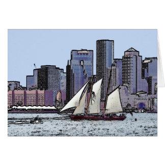 スクーナー船の巡航--ありがとう カード