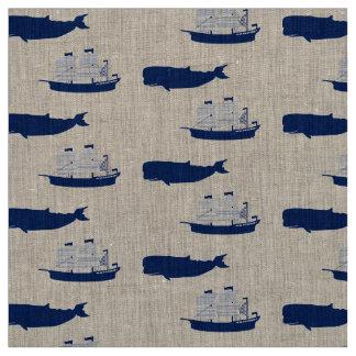 スクーナー船及びクジラ ファブリック