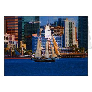 スクーナー船、サンディエゴ港 カード