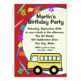 スクールバスの芸術の誕生日 カード
