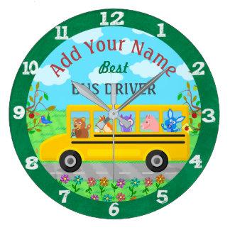 スクールバスの運転者かわいい動物|の名前入りな名前 ラージ壁時計