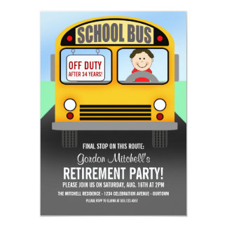 スクールバスの運転者の退職のパーティの招待状 12.7 X 17.8 インビテーションカード