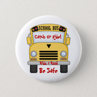 スクールバスはかっこいいRをです安全なPinボタンからかいます 5.7cm 丸型バッジ
