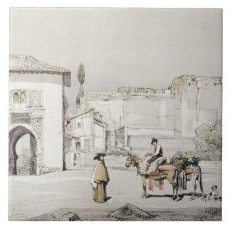 「スケッチからのつる植物(Puerta del Vino)のゲート、 タイル