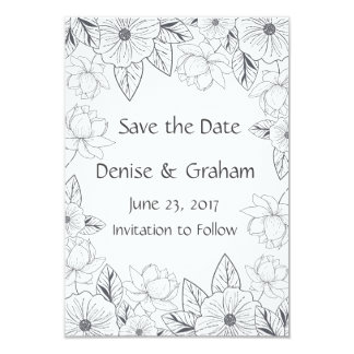 スケッチされた手描きの花は日付を救います カード