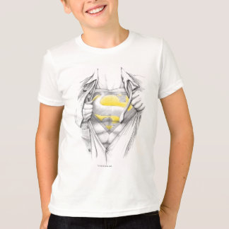 スケッチされた箱のスーパーマンのロゴ Tシャツ
