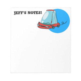 スケッチのスタイルの漫画車のイラストレーション ノートパッド