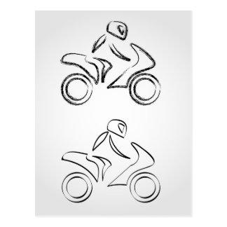 スケッチの効果のモーターバイクのバイクもしくは自転車に乗る人 ポストカード