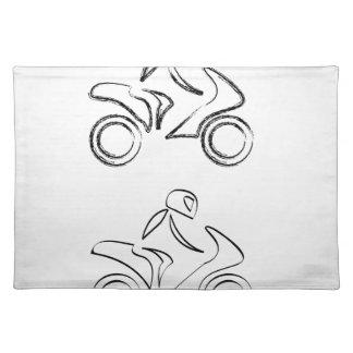 スケッチの効果のモーターバイクのバイクもしくは自転車に乗る人 ランチョンマット