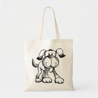 スケッチの落書きの小犬のバッグ トートバッグ
