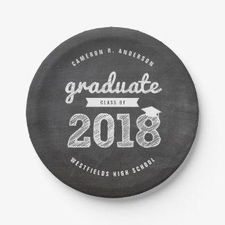 スケッチの2018年の黒板の卒業生のパーティーの紙皿 ペーパープレート