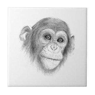 スケッチをまねていないチンパンジー、 タイル