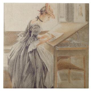 スケッチテーブルのCopying、c.1760-70 (grap女性 タイル