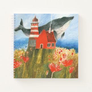 スケッチブックの芸術のクジラの灯台動物のノート ノートブック