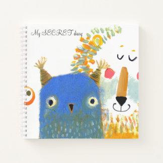 スケッチブックの芸術のフクロウのライオン動物のノート ノートブック