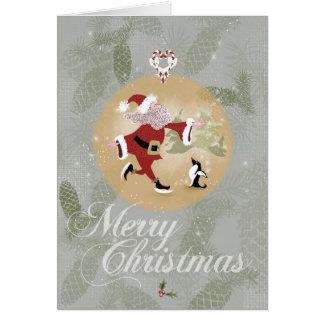 スケートで滑るのサンタクロースのクリスマスカード カード