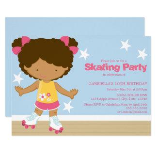 スケートで滑るパーティー|のアフリカ系アメリカ人の女の子 カード