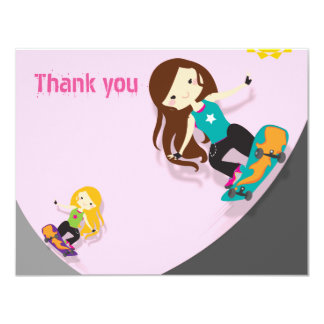 スケートボーダーのピンクありがとう カード