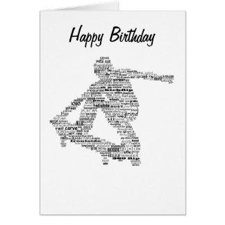 スケートボーダーの単語のコラージュの挨拶状 グリーティングカード