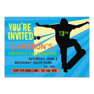 スケートボーダーの10代のな誕生日の招待状 12.7 X 17.8 インビテーションカード