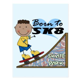 スケートボーダー-アフリカ系アメリカ人の男の子 葉書き