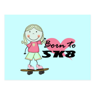スケートボーダー-ブロンドの女の子のTシャツおよびギフト はがき