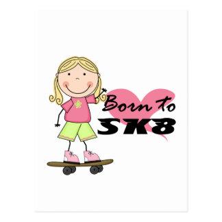 スケートボーダー-ブロンドの女の子のTシャツおよびギフト 葉書き