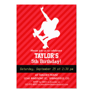 スケートボーダー; 深紅の赤のストライプ 12.7 X 17.8 インビテーションカード