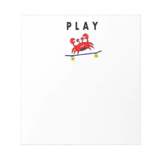スケートボードのイメージの漫画のかわいいカニ ノートパッド