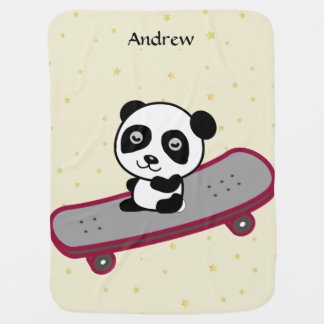 スケートボードのパンダの乗馬 ベビー ブランケット