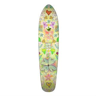 スケートボードはハートの花の緑を数々の去ります スケートボードデッキ