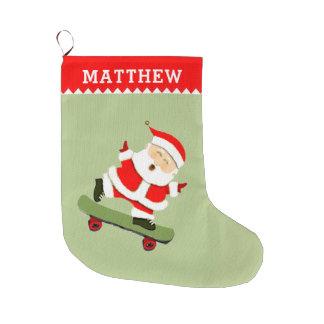 スケートボードをするサンタ ラージクリスマスストッキング