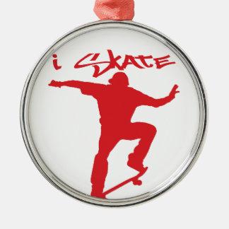 スケートボードをするトリック メタルオーナメント
