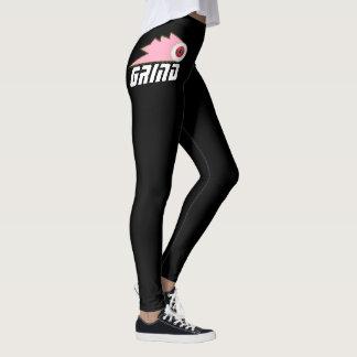 スケートボードをする女性のレギング黒いピンロゴをひいて下さい レギンス