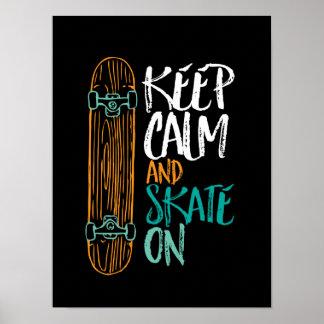 スケートボードをする引用文ポスターの穏やかなスケートを保って下さい ポスター