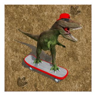 スケートボードをするTレックス ポスター