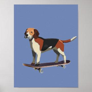 スケートボード、ビーグル犬、デニムポスターの犬 ポスター
