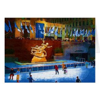 スケートリンク、ロックフェラーの中心、ニューヨークシティ カード