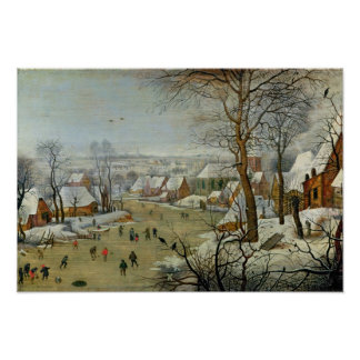 スケート選手および鳥のトラップとの冬の景色 ポスター