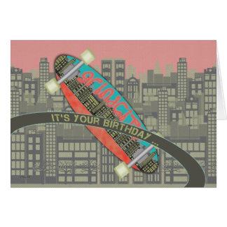 スケート選手のスケートボードの断片のためのハッピーバースデーそれ グリーティングカード