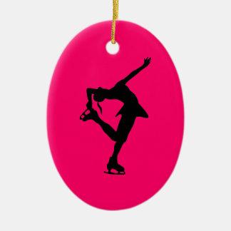 スケート選手の装飾の楕円形熱いピンク及び黒あなたの名前 セラミックオーナメント