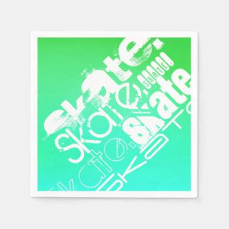 スケート; 水、ネオン緑の勾配 スタンダードカクテルナプキン